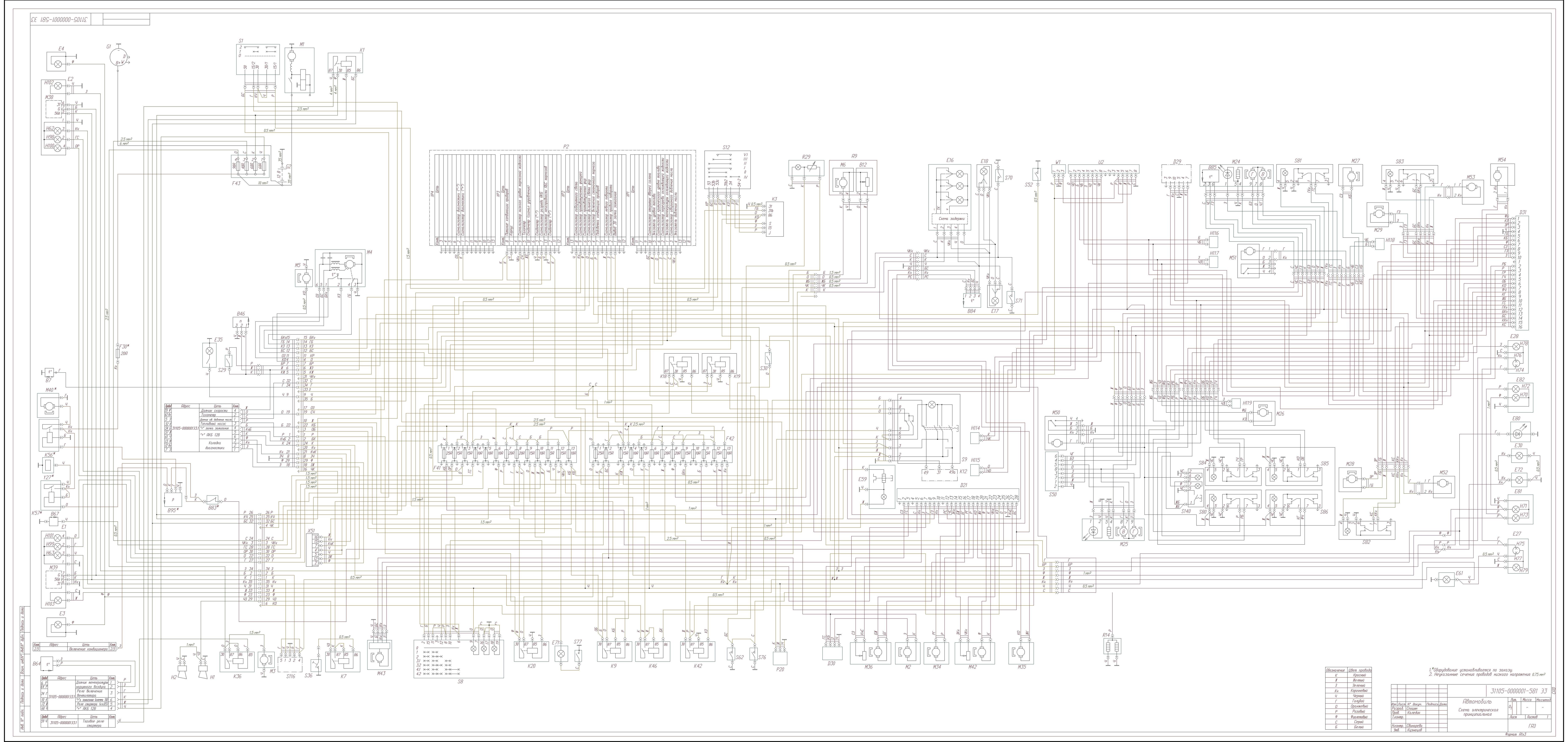 Схемы электрооборудования газ 31105 двигатель chrysler